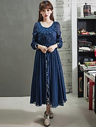 Women's Going out Vintage Swing / Two Piece Dress,Print Round Neck Midi Long Sleeve Blue Silk Spring / Fall / Winter