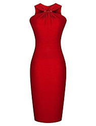 Women's Vintage V Neck Dress , Cotton Blends Red Sexy/Bodycon