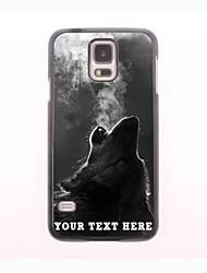 caso de telefone personalizado - o caso do metal lobo soprando fumaça projeto para samsung galaxy s5 mini-