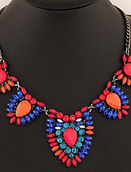 European Style Metal Dazzling Gemstone Necklace