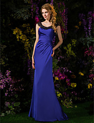 Lanting Bride® Sweep / Brush Train Satin Chiffon Bridesmaid Dress Sheath / Column Scoop Petite with Beading / Side Draping