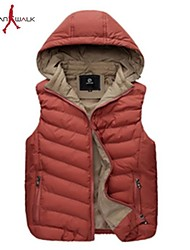 MANWAN WALK®Men's Casual Slim Thick Warm Vest with Removable Hood.