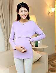 Women's Round Collar  Casual  Maternity Shirt