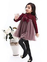 Girl's Purple / Red Dress Cotton / Mesh Winter