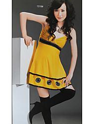 новое прибытие Корея круглого точка v-образным вырезом платья желтый