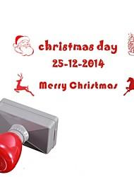 33x63mm personalizado navidad santa claus estilo alces 3 líneas rectángulo grabado el sello sello fotosensible (14 letras)