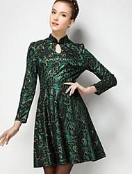 Women's Gold Thread Lace Waist Dress