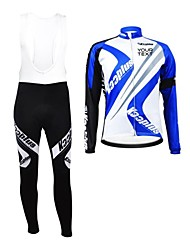 KOOPLUS Unisex Winter Customized Cycling Clothing Long Sleeve Jersey BIB Pants Thermal Fleece Cycling Suit--Blue+White