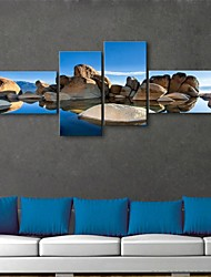 E-HOME® Stretched Canvas Art Stone Scenery Decorative Painting Set of 4