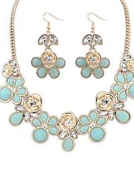 z&X® flores doces colar e brincos conjunto de jóias (1 jogo, 4 opções de cores: rosa, azul claro, azul escuro, branco)