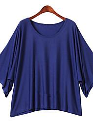 Camisetas ( Algodón )- Playa/Casual/Trabajo Redondo Manga Corta para Mujer