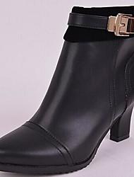 Calçados Femininos - Botas - Arrendondado / Botas da Moda - Salto Grosso - Preto / Vinho - Couro / Couro de Gado -Escritório & Trabalho /