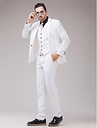 sarga blanca Slim Fit traje de tres piezas