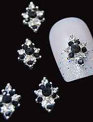 10pcs 3d schwarz Strass Diamant Blume DIY Legierung Nagelkunstdekoration
