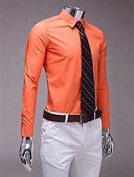 naranja camisa de manga larga slim fit