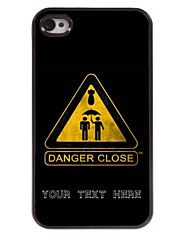caja del teléfono personalizado - primer caso de diseño de metal peligro para el iphone 4 / 4s