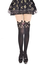 Socks & Stockings Sweet Lolita Cosplay Lolita Dress Black Print / Animal Print Stockings For Velvet