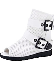 Girls' Shoes Casual / Dress Leatherette Sandals Summer Peep Toe Flat Heel Black / White