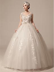 Ball Gown Wedding Dress Floor-length V-neck Tulle with