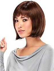 senza cappuccio corto marrone castagna bob parrucche dei capelli umani