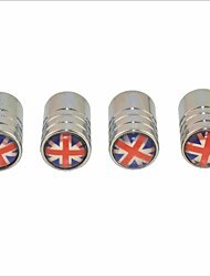 DIY British Flag Pattern Universal Tire Air Valve Caps--Silver(4PCS)