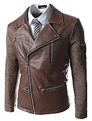 moda colores mezclados de los hombres de múltiples gran solapa de la chaqueta de la ropa de cuero delgado coreano cremallera