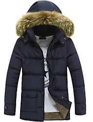 Mantel (Schwarz / Blau / Grün , Kunstpelz / Baumwollmischung) - für Freizeit / Büro - für MEN - Einfarbig - Lang