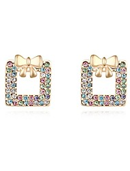 Women's Crystal Pave Bow Square Stud Earrings (More Colors)