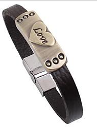 Punk Style Love Symbol Alloy Leather Bracelet(1 Pc)