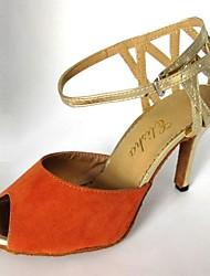 Chaussures de danse (Noir/Or Talons personnalisés - Suédé - Danse latine