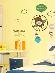 Wall Clock Stickers Wall Decals, Cartoon Flying Bear PVC Wall Stickers