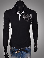 Men's Long Sleeve Polo , Cotton Casual Print