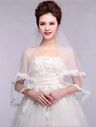 One Tier Wedding Veil Lace Applique Edge