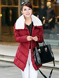 Women's Coats & Jackets , Cotton/Feather Casual Long Sleeve Luoxi