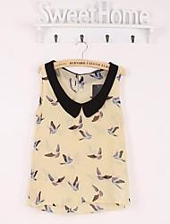 Women's Print Yellow Blouse , Peter Pan Collar Sleeveless