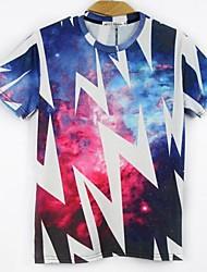 Men's Print Casual T-Shirt,Cotton Blend Short Sleeve-Multi-color