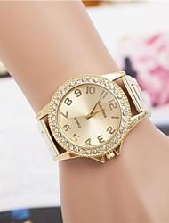 moda feminina strass numer relógio cinta de aço de pulso de quartzo (cores sortidas)