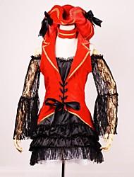 vendaje claasical satén rojo&encaje de cosplay traje de pirata