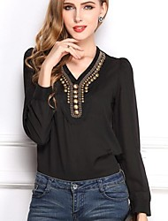 Women's Casual/Daily Simple Spring / Summer / Fall Blouse,Solid V Neck Long Sleeve White / Black Thin