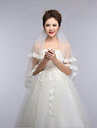 2Tire Elbow Wedding Veils with Lace Trim Edge with Comb ASV5