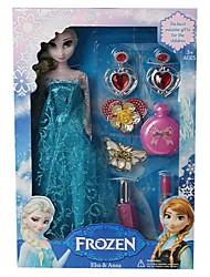 brilham pelúcia Elsa princesa boneca e anna com acessórios de cosméticos