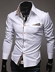 Men's New Individuality Of Leopard Lining Cloth Sticking Self-cultivation Shirt