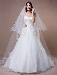Wedding Veil Two-tier Chapel Veils Beaded Edge