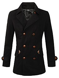 Men's Long Sleeve Regular Coat , Cotton Blend/Polyester/Wool Blend