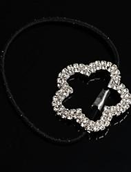 la plata de la flor de la moda de diamantes de imitación chapado en cola de caballo elástico banda soporte de pelo empate