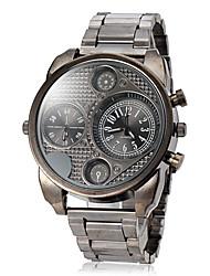 Men's Dual Time Zones Steel Band Quartz Wrist Watch (Assorted Colors) Cool Watch Unique Watch