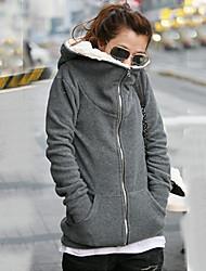 Lanxi Women's Solid Color Hoodie Thermal Coat