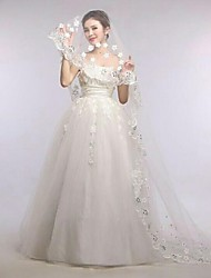 Floral One Tire Chapel Bridal Veils with Scalloped Lace Trim with Crystal with Flowers ASV20