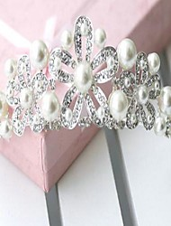 A Hole Type Three Flower Alloy With Beads On Both Sides  Bride Headpieces