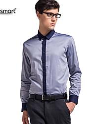 Lesmart Men's Business Casual Long-sleeved Cotton Shirt